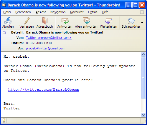 Barack Obama is now following you on Twitter! (Screenshot der E-Mail)