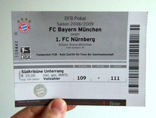 Eintrittskarte Pokal vs FCN