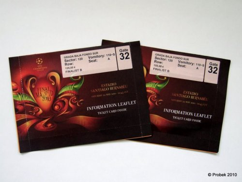 Eintrittskarten für das Champions-League-Endspiel 2010, verpackt